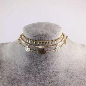 Jewelry - Set of 3 Bohemian Beaded Tribal Gold-Tone Chokers